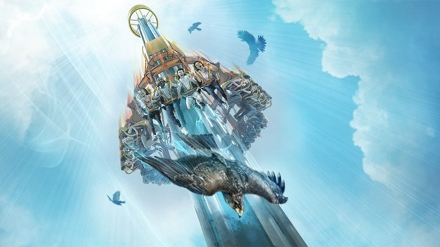 Falcon's Fury is a new thrill ride that climbs nearly 300 feet, pivots 90 degrees to face the ground and plunges at 60 mph straight down with speed.