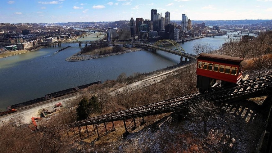 The Duquesne Incline makes it way up the slope of Mount Washington across the Monongahela river from downtown Pittsburgh.