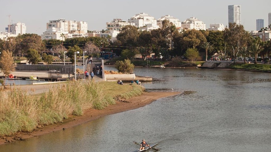 A kayak is seen in Yarkon Park, Tel Aviv, Israel.
