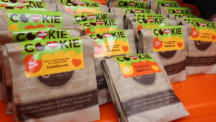 Free cookie giveaway from Double Tree hotels