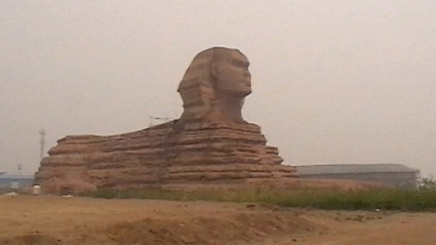 A full-size replica of the famous Great Sphinx of Giza, which stands 65 feet high and over 196 feet long, has appeared in a village in China.