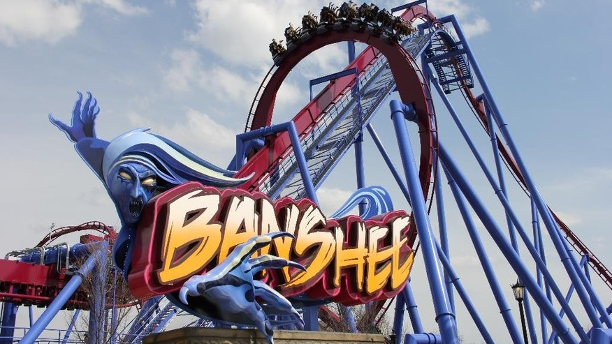 This undated image provided by Kings Island amusement park in Kings Island, Ohio, near Cincinnati, shows the recently opened Banshee roller coaster. It's named for a wailing mythological messenger from the underworld and includes a 167-foot lift hill and a 150-foot curved first drop. (AP Photo/Kings Island, Don Helbig)