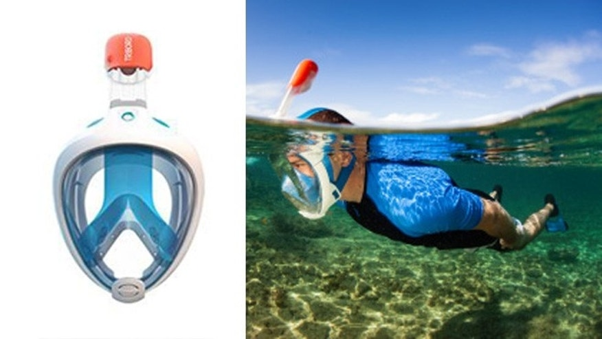 New snorkeling mask is an innovative one piece design.