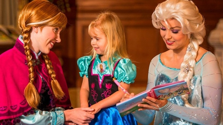 The Princess Fairytale Hall features, adorned with portraits of Disney princesses, is where guests can meet Anna and Elsa.