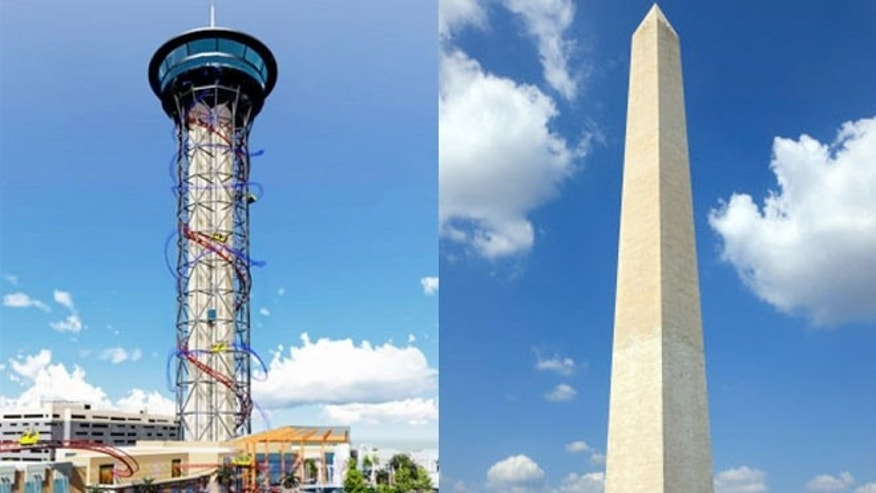 When complete, the Skyscaper will be 570 feet tall. The Washington Monument is 555 feet tall.