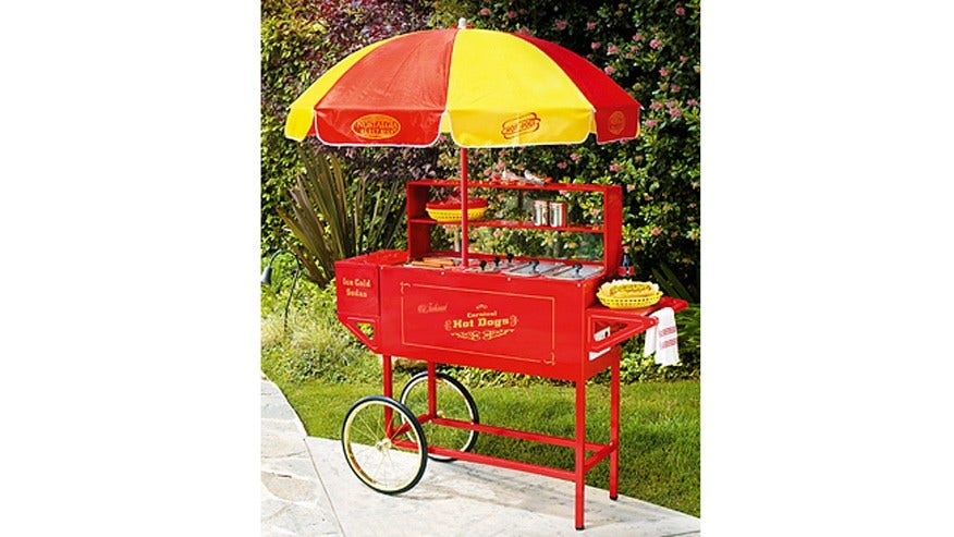 Carnival Hot Dog Cart with Umbrella