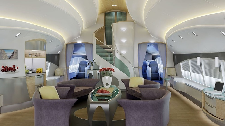 This custom living room is an elegant way to travel.