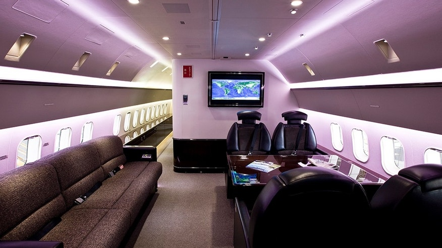 This Boeing has a full bathroom- with a shower- a bedroom suite, and seating for 28 passengers.