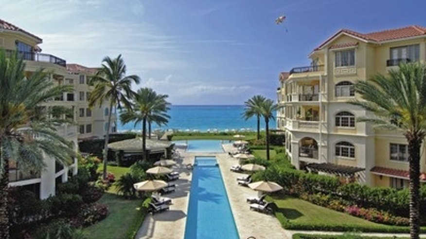 The pool and beach at The Somerset in Turks and Caicos.