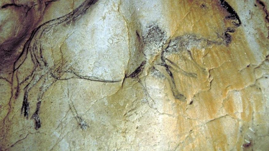 The Cave of Pont d'Arc, southern France contains drawings of mammoths, human footprints and other art carved on cave walls.