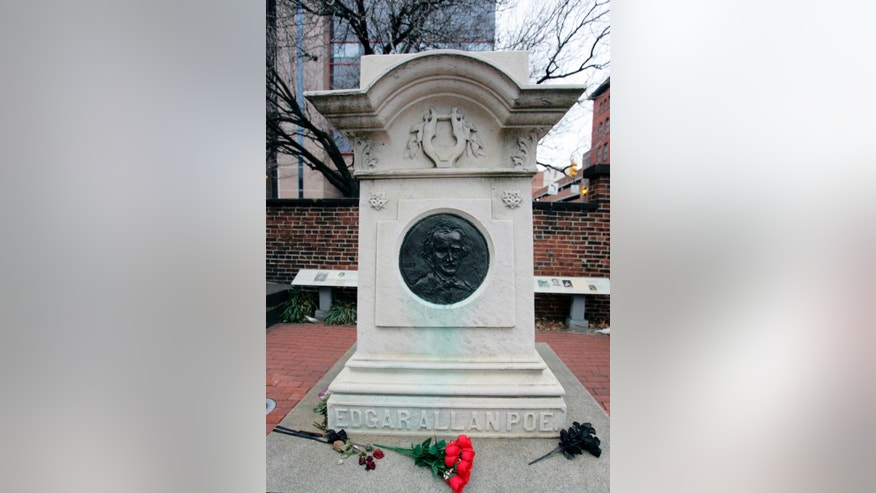 The tomb of 19th century writer Edgar Allan Poe in the Westminster Hall and Burying Ground in Baltimore.