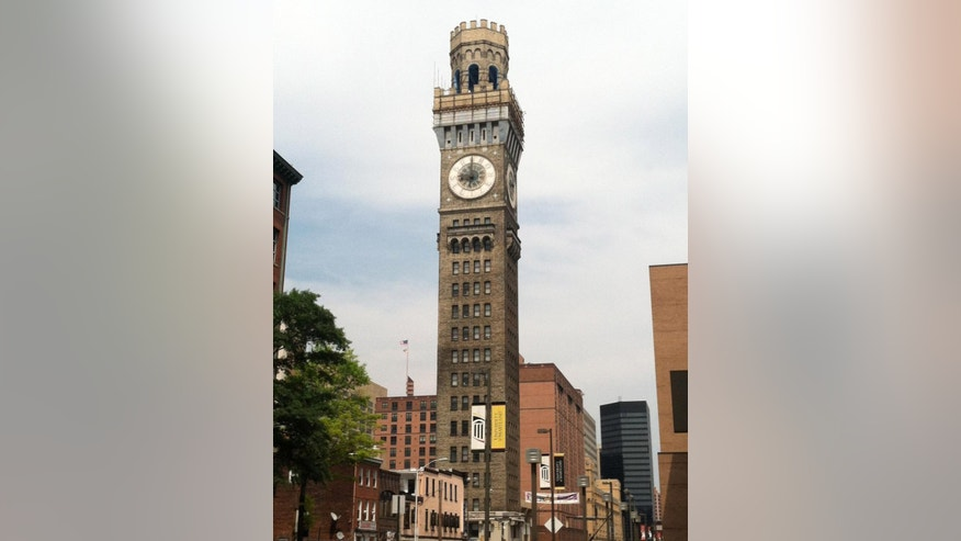 The Bromo Seltzer Tower was erected in 1911 with a castle-like turret and a clock face bearing the letters B-R-O-M-O S-E-L-T-Z-E-R instead of numbers.