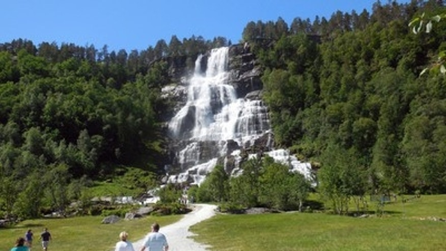 The famous Tvindefossen waterfall just outside of Voss.