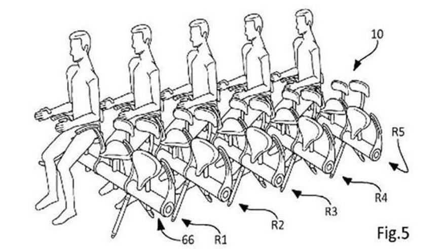 Airline manufacturer Airbus has filed a patent for a bicycle-like seat that lets airlines fit in more passengers per plane.