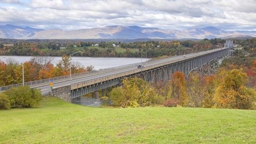 The Rip Van Winkle Bridge in the Hudson River Valley, New York.