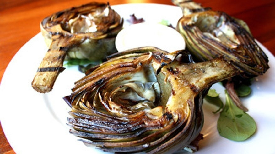 The grilled artichokes at the Half Moon Bay Brewing Company.