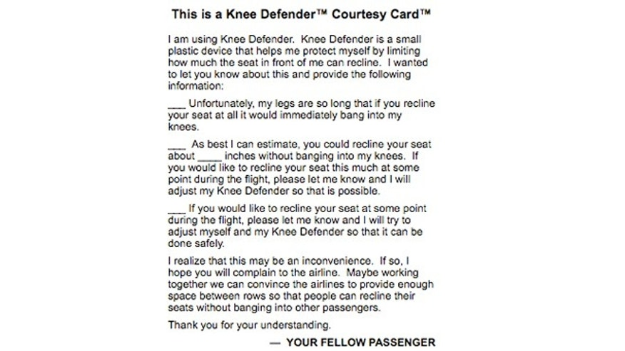 The Knee Defender comes with a courtesy card you can give your fellow passenger.