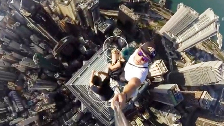 A selfie video at over 1,000 feet.