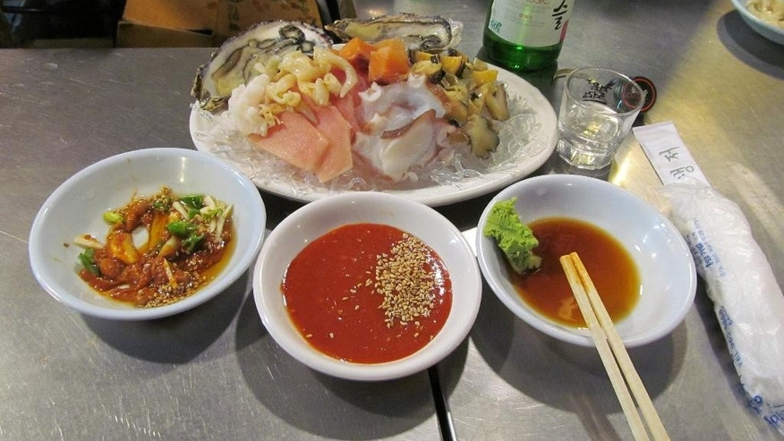 February 2014: Ice-cold sashimi in Seoul, one of Korea's many culinary surprises.
