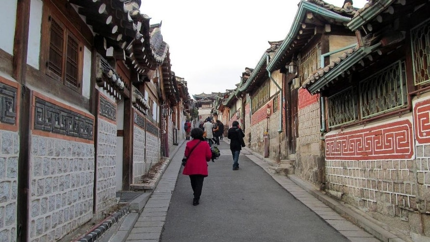 February 2014: Buckchon village is one of the few places in Seoul where you can see dozens of traditional Korean houses.