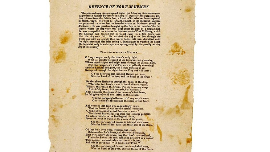 First printed version of The Star-Spangled Banner.