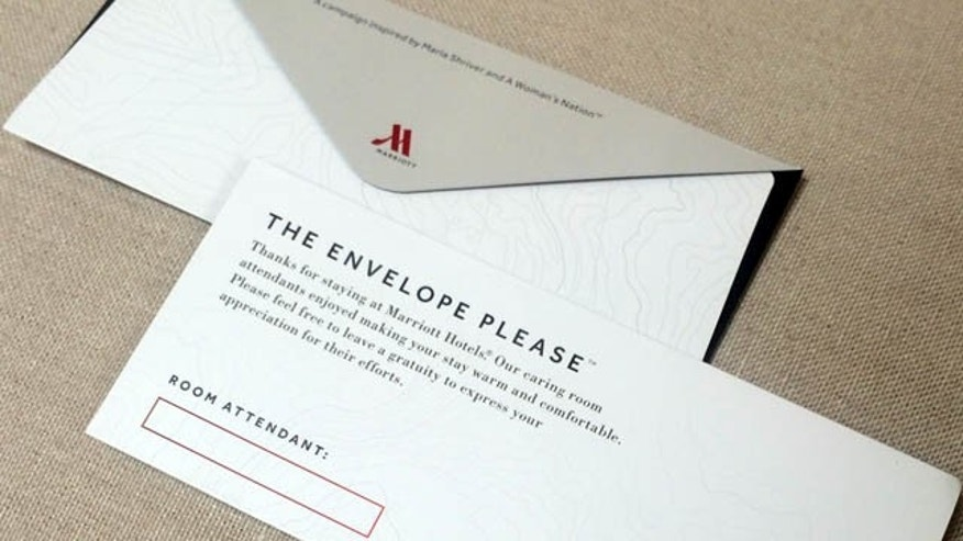 This photo provided by A Woman's Nation shows an envelope that Marriott will be placing in 160,000 hotel rooms in the U.S. and Canada beginning this week to encourage guests to leave a tip for the person who cleans the room.  (AP Photo/A Woman's Nation)