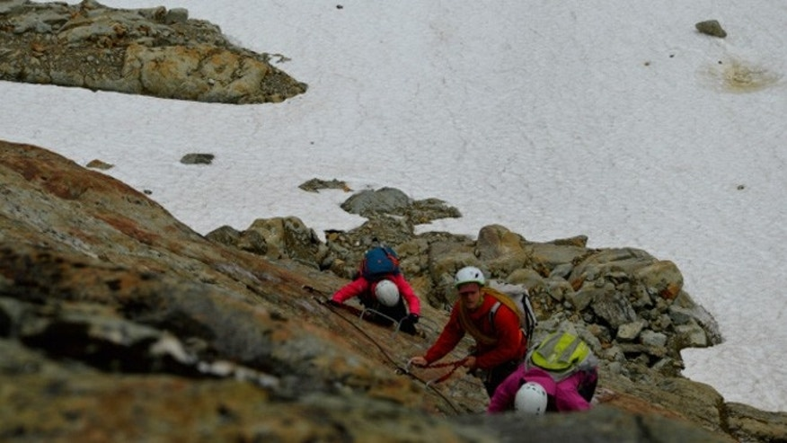 Climbers ascend a section of Whistler's via ferrata.