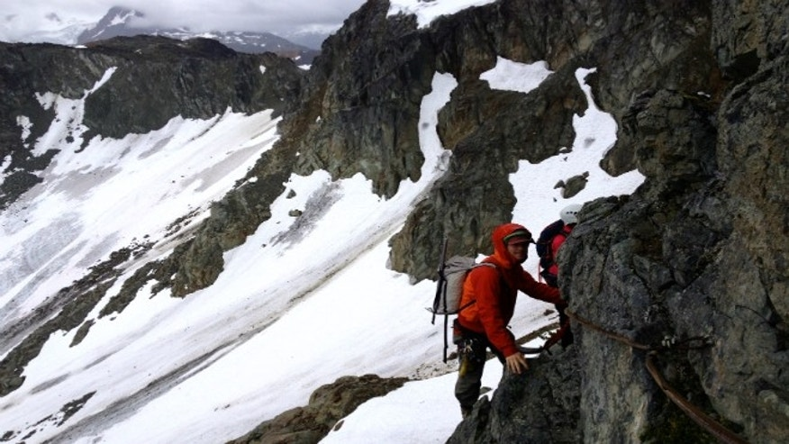 Rupert Davies of Whistler Alpine Guides, maneuvers the via ferrata.