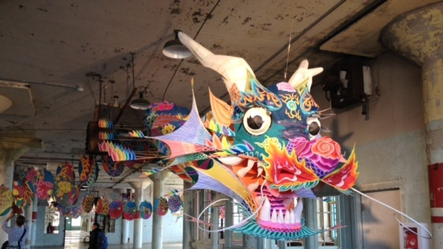 A traditional Chinese dragon as part of the @Large exhibit at Alcatraz.