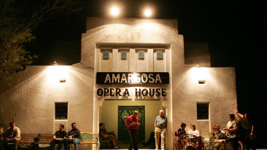 Oct. 1, 2005:  Patrons wait for the doors to open at the Amargosa Opera House in Death Valley Junction, Calif., to see a performance.