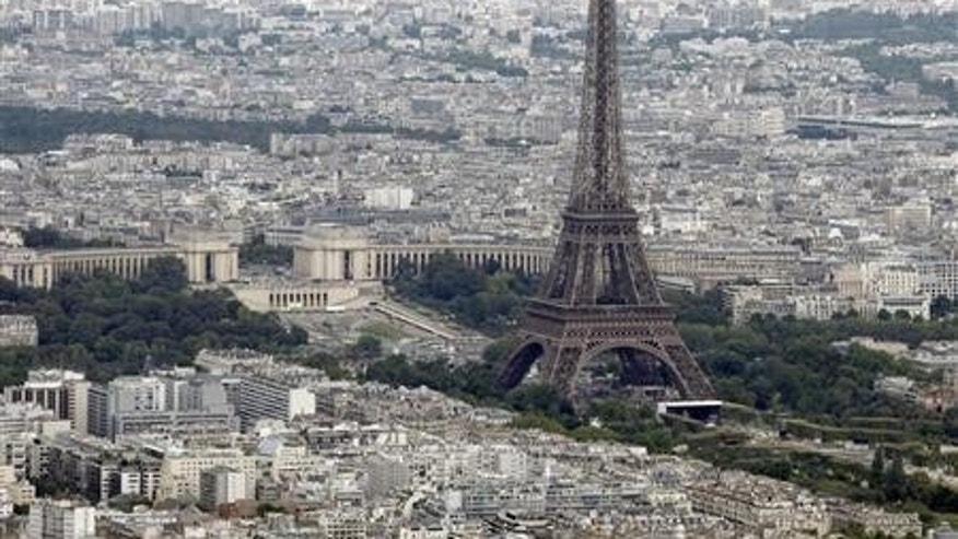 An aerial view of the Eiffel Tower in Paris.