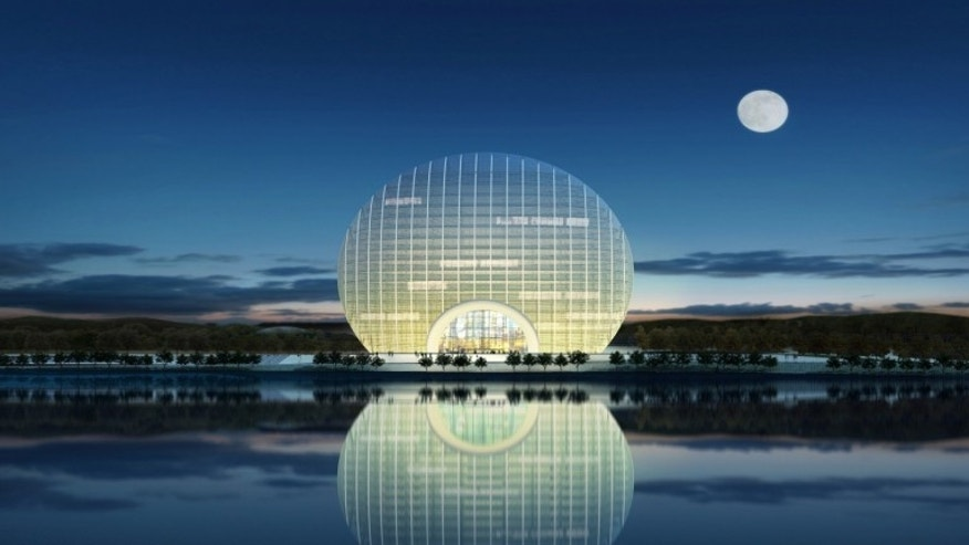 The Sunrise Kempinski hotel was designed to look like a sun rising over the Yanqi lake.
