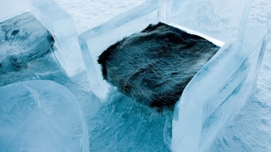 Comfortably furnished with furniture made from ice.