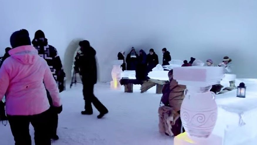 In an ice castle: LumiLinna Snowcastle Restaurant Kemi, Finland