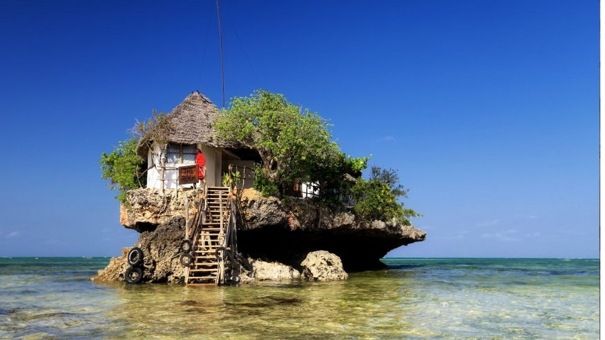 On a remote rock: The Rock Zanzibar, Africa