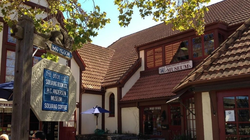 This Sept. 30, 2014 photo shows the Hans Christian Andersen Museum in Solvang, Calif. Founded in 1911 by Danish immigrants, Solvang is a touristy enclave with Danish bakeries and Danish-themed hotels in addition to the Hans Christian Andersen Museum. (AP Photo/Solvej Schou)