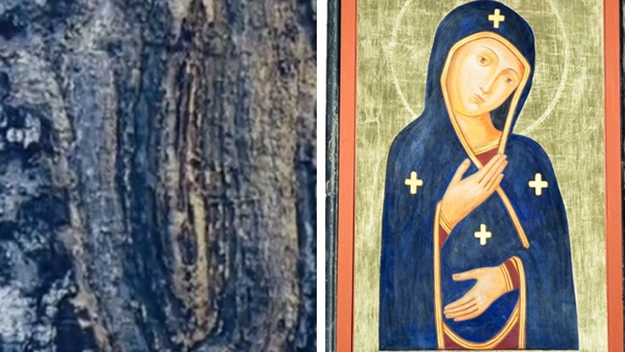 A comparison of the tree trunk pattern and a traditional image of the Virgin Mary.