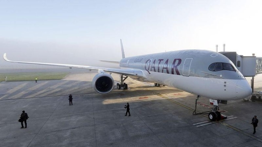 An Airbus A350 XWB is pictured on the tarmac during the first delivery of this new passenger jet at Qatar Airways in Toulouse, France.