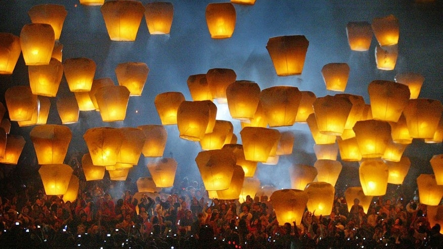 The Pingxi International Sky Lantern Festival, Taiwan is held in February.