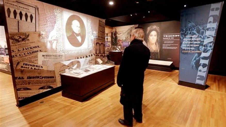 "Jan. 7, 2015: President Andrew Jackson's artifacts and history are displayed in the new ""Andrew Jackson, Born for a Storm"" exhibit on the grounds of Jackson's home in Hermitage, Tenn."