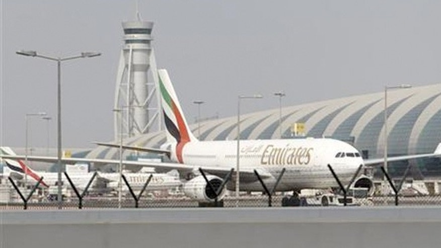Emirates airplane at Dubai International Airport.