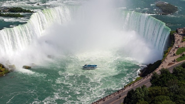 Aerial view of Horseshoe Falls, Maid of the Mist Boat and Niagara River