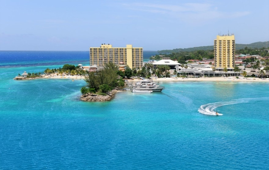 Aereal view of Ocho Rios, Jamaica in the Caribbean