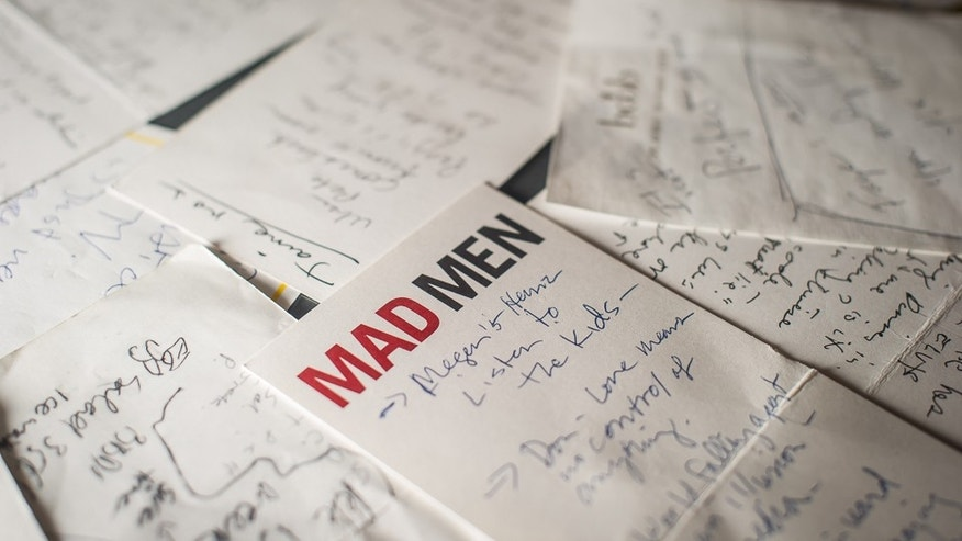 "March 10, 2015: Storylines for ""Mad Men,"" scribbled by Matthew Weiner, are displayed as part of the exhibition, ""Matthew Weiner's Mad Men,"" at the Museum of the Moving Image in New York."