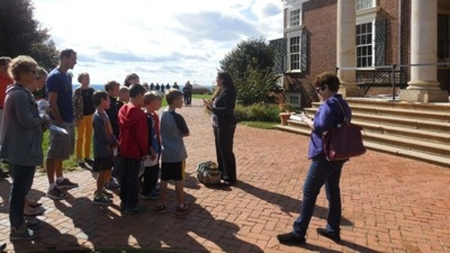 A family tour of Monticello in the fall.