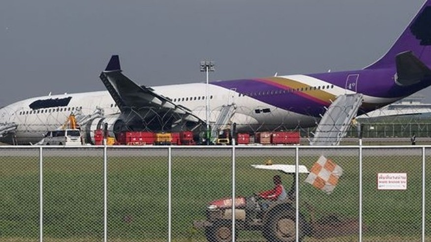 Sept 2013: A Thai Airways plane carrying more than 280 people skidded off the runway while landing at Bangkok's main airport, injuring 14 passengers.