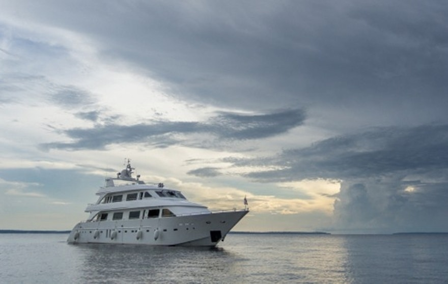 Cloudy sky, stormy clouds, Boat, calm water