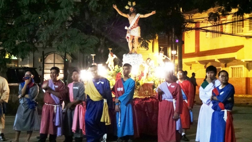 """Salubong"" is a Filipino tradition every Easter Sunday where there's a re-enactment of Virgin Mary meeting her son Jesus."