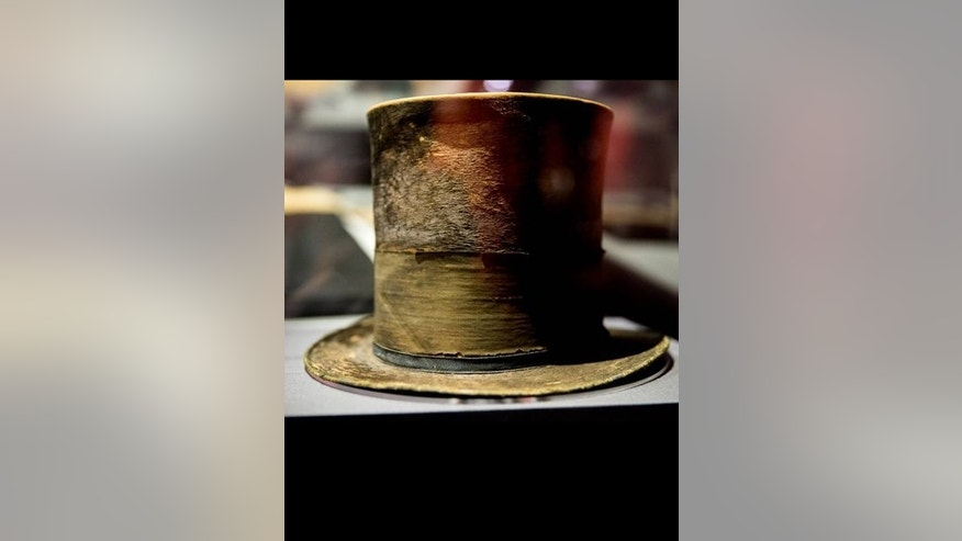 "President Abraham Lincoln's top hat from the night of his assassination is on display at a new exhibit entitled ""Silent Witnesses: Artifacts of the Lincoln Assassination."""
