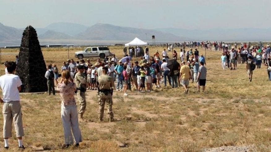 Protesters are planning a demonstration Saturday, April 4, 2015, as the Trinity Test site opens to visitors.